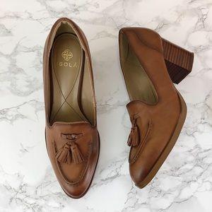 Isola Hailey leather brown block heel tassel pump